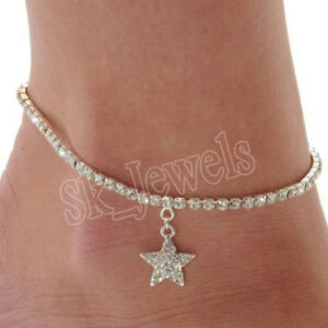 5.21CT NATURAL ROUND DIAMOND 14K SOLID WHITE GOLD WEDDING ANKLET PAYAL FOR WOMEN
