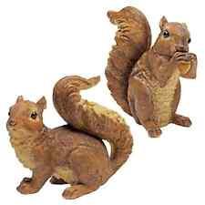 Set of 2: Realistic Woodland Squirrel Home Garden Wildlife Animal Sculptures