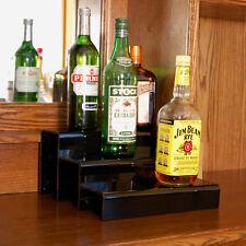 Liquor Bottle Shelf 12-inch 3 Tier - Black - Bar Pub Alcohol Drink Display Decor