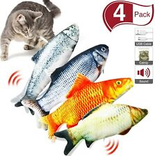 4 Pcs Realistic Flopping Catnip Fish Plush Simulation Electric Wagging Cat Toy