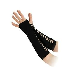 "10"" Black Ladder Style Gloves - 10 Fancy Dress Punk Side Holes Gothic Halloween"
