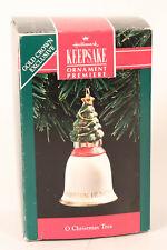 Hallmark 1992 O Christmas Tree Keepsake Ornament Exclusive Porcelain Bell w Box