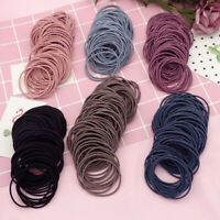 100Pcs Lady Simple Elastic Hair Bands Solid Hair Ties Rope Ring Ponytail Holder