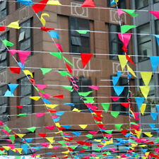 Colorful 80M Bunting Banner Triangle Flags Pennant Wedding Party Festival Decor
