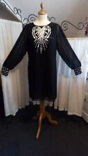 Black chiffon evening dress, sz 8/10 Diamante yolk and cuffs, long sleeves. BNWT