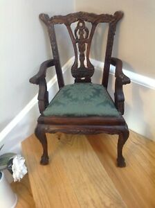 Rare Antique Small Arm Chair (Apprentice Piece) Mahogany Carved Arm Chair