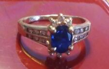 14K Yellow Gold Ring Size 5 Sapphire Blue Stone & Accent CZ's   ((131))