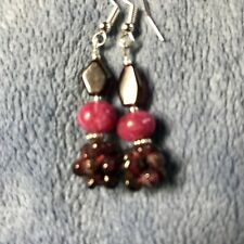 Ruby & Garnet Earrings Handcrafted With 925 Silver Ear Wires Gift Present