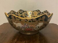 "Vtg Chinese Green Gold Tapestry Medallion Porcelain Centerpiece Bowl -9.5"""