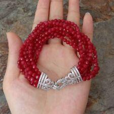 8'' 7 strandsRed Jade Bracelet Cz Clasp