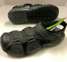 Mens Crocs Swiftwater Black Graphite Gray Leather Fisherman Sandals Shoes 13