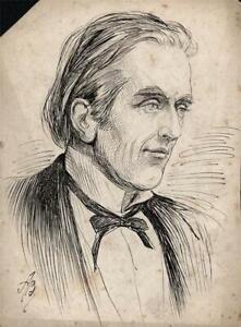 ALFRED BRYAN (1852-1899) Pen & Ink Drawing - GENTLEMAN PORTRAIT - 19TH CENTURY