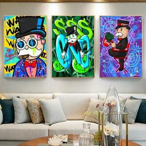Abstract Canvas Painting Poster Alec Monopoly Red Chair, Cartoon Art Posters