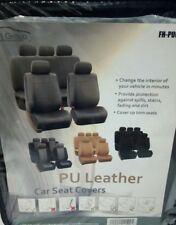 PU Leather Car Seat Covers Top Quality Set Gray, Front Seat Only, See Details