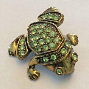 Vintage 1928 jewelry company green rhinestone frog brooch pin