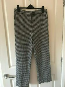 Dogtooth Trousers Size 12 TU Sainsburys Black White Houndstooth Check Smart
