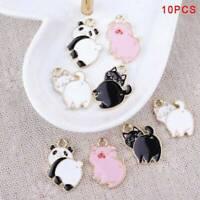 10Pcs Enamel Alloy Pig Cat Panda Charms Pendants DIY Jewelry Findings Crafts