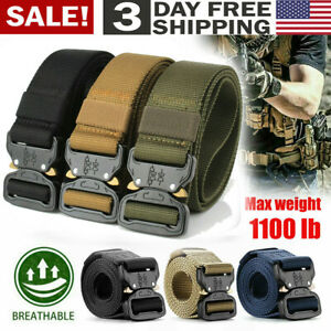 Sportmusie Cut To Fit Nylon Web Belt for Men Military Belts with Flip-Top Buckle