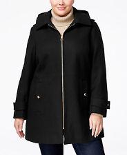 Michael Kors Plus Size Hooded Wool-Blend Walker Peacoat Black 3X $320 #19-18