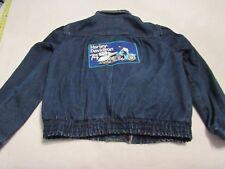 Mens Vintage Denim Jean Jacket With 1974 Harley Davidson Patches Size Large