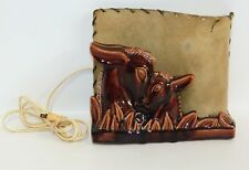 Mother & Baby Fawn Vintage TV Light Lamp Brown Ceramic w/Original Shade 1950's