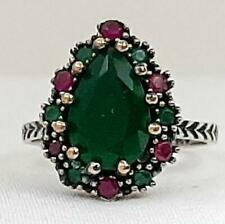 3.80ct Deco Emerald & Ruby 14K Yellow Gold 925 Sterling Silver Ring Size 8.75