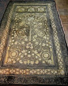Antique Indian Mughal prayer embroidery Ottoman c. 1800 silk on wool 95 x 55 in