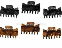 Pack of 3 Black or Tort Hair Clamps Grips Claws 4cm