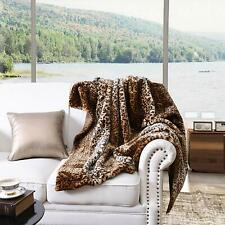 "Faux Fur Throw Blanket Leopard Bed Blanket Super Soft Warm Reversible 50""x70"""