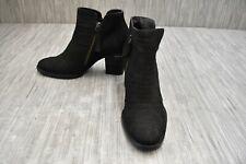 Paul Green Malibu Double Zip Nubuck Ankle Booties, Women's Size 7, Black