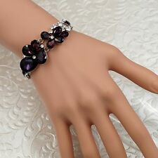 Hot Rhodium Plated Dark Violet Crystal Rhinestone Bracelet 08733 Fashion Jewelry