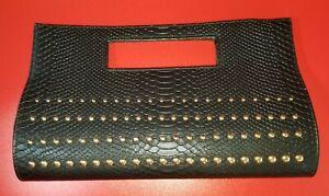 Charming Charlie's Black Faux Snakeskin Studded Clutch Purse Handbag EUC