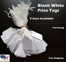 Blank White Merchandise Price Tags w/ String Jewelry Retail Strung 100-1000 pcs