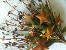 Pip Berry Pick Stem with Rusty Stars Leafy BLACK TAN Crafts Primitive Rustic