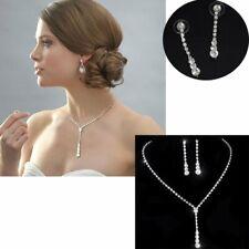 Elegant Wedding Bridal Silver Crystal Necklace Earrings Jewelry Set Women Prom