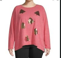 Women's Holiday Time Sequin Christmas Tree Sweater, Red, Size 3X (24W -26W)