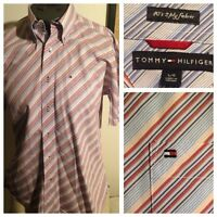 Tommy Hilfiger BOLD Oxford Button Down S/S Shirt Flag Logo Mens L 2 ply fabric