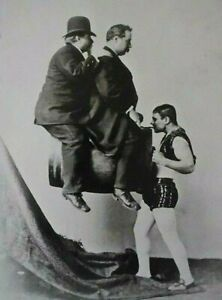 POSTCARD / HARROUN & BIERSTADT / Strongman Signor Lawanda, iron-jawed man 1886