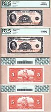 Sequential Pair BC-5 1935 $5 Bank of Canada Prince of Wales PCGS CH UNC64/63 PPQ