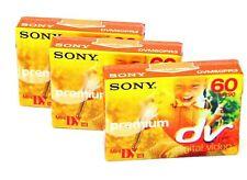3 x Sony Premium DVM60 DV60 Mini DV Tapes for Camcorder Sealed NEW