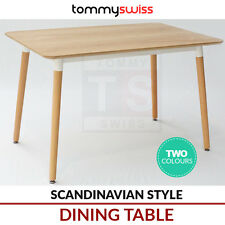 TOMMY SWISS: 6 Seater Rectangular Dining Table Wooden Scandinavian Style White