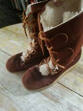Vtg Unbranded Women's Dark Brown Sherpa Lined Suede Boots Size 8 Made In Usa