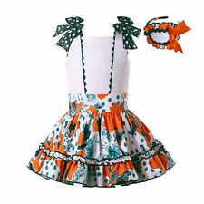 Spanish Girls Polka Dot Outfits with Bows Headband T-shirt and Skirt Sets 3-12