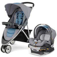 Chicco Viaro 3 Wheel Travel System Stroller with KeyFit 30 Car Seat Coastal NEW