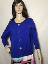 Ellen Tracy blue Hooked Large Front Light weight Sweater