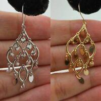 10K Yellow White Gold Chandelier Dangle Drop Earrings