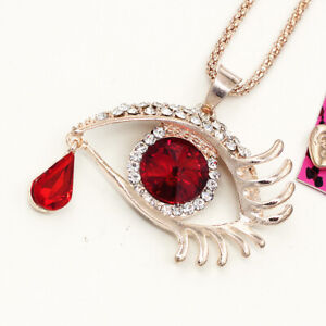Red Crystal Evil Eye Teardrop Charm Pendant Chain Betsey Johnson Necklace Gift