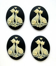 4 IVORY color LOVE CATS and ROSES on BLACK 40mm x 30mm Costume Jewelry CAMEOS