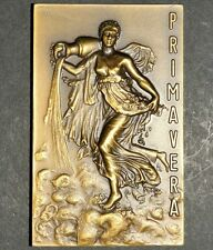 SEMI NUDE WOMAN / WATER / SPRING BRONZE MEDAL BY V. NUNO (M9.b)