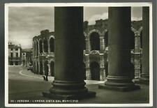 cartolina  di  verona l' arena vista dal municipio spedita nel 1936